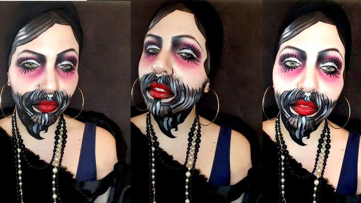 Tattoo Oldschool 20s Lady // bearded Lady // WATERCOLOUR // Make-up Tuto...