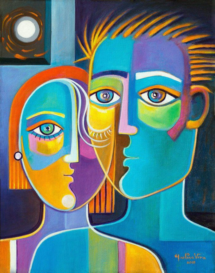 Cubist Original Painting Acrylic On Canvas Modern Abstract Art Marlina Vera Couple In Love Picasso Style Cubism Artwork Painting Cubist Paintings Cubism Art