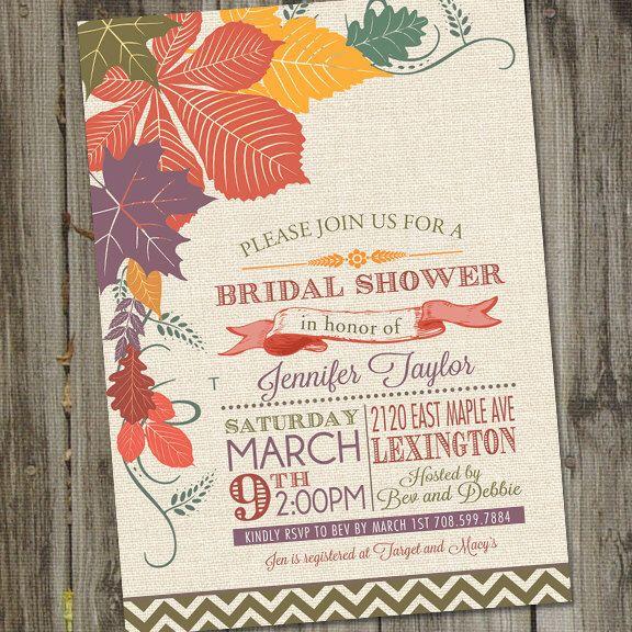 Fall Bridal Shower Invitation, Fall Fling Bridal Shower Invite, Fall Wedding Shower Invitation, PRINTABLE,  Autumn Bridal Shower by partymonkey on Etsy https://www.etsy.com/listing/158411379/fall-bridal-shower-invitation-fall-fling