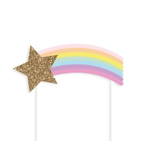 Rainbow Shooting Star Cake Topper