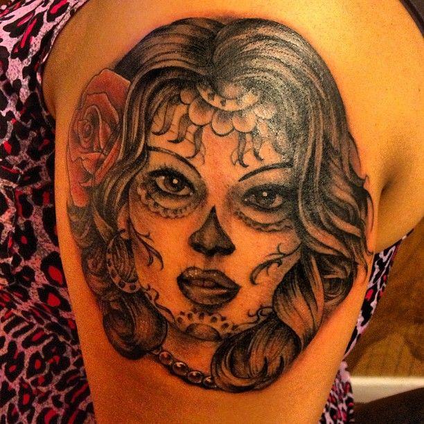 dia de los muertos tattoos   Dia De Los Muertos Head Grey Ink Tattoo On Bicep