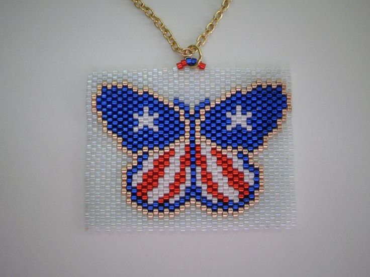 Patriotic Butterfly Pendant  Necklace in Peyote Sticth of Delica Beads Red White and Blue American Stars and Stripes by JazminsJewels on Etsy