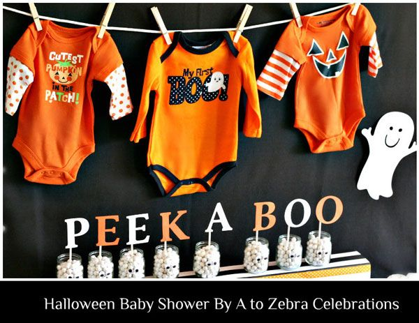 orange and black halloween baby shower theme snacks that matched the table