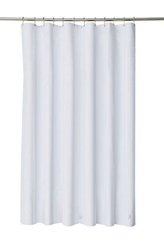 Pinzz Thicken Mildew Resistant Washable Polyester Fabric White Shower Curtains Liners Waterproof No Odor With Plastic Curtain Rings Heavy Duty Weighted Hem
