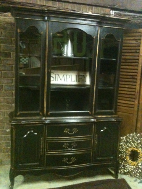 revamped french china cabinet in classic black and lightly distressed furniture redopainted