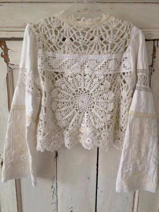 Time to rummage through the linen closet! Look at all those different laces. top from napkins, crochet, tablecloths?