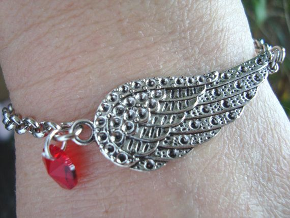 Angel Wing Bracelet Wish Bracelet Chain bracelet red by BiancasArt