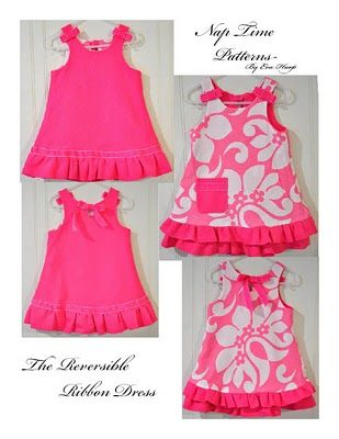 Cute reversible dress for baby. Free Pattern and Tutorial on Sewing.