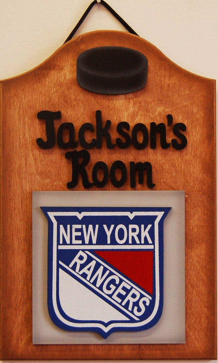 New York Rangers Personalized Hockey signs Rangers hockey wooden sports signs kids teen sports room wooden hockey sports sign by UCsportsbyBill on Etsy