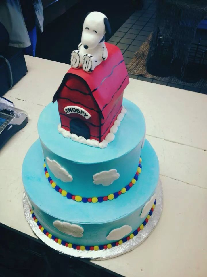 Snoopy birthday cake. by The Baking Grounds Bakery in Buford GA | Snoopy birthday cake