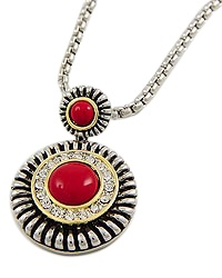 "15"" + EXT Red Clear Rhinestone Pendant Necklace Retail - $32.50 You Pay - $16.25 w/ free shipping in the US."