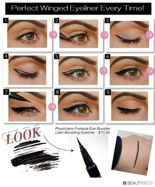 How to apply winged eyeliner quickly and easily.