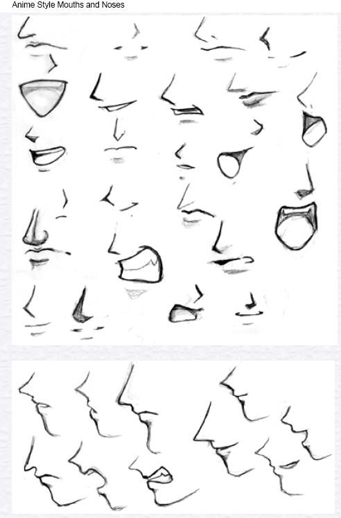 how to draw mouth on the side