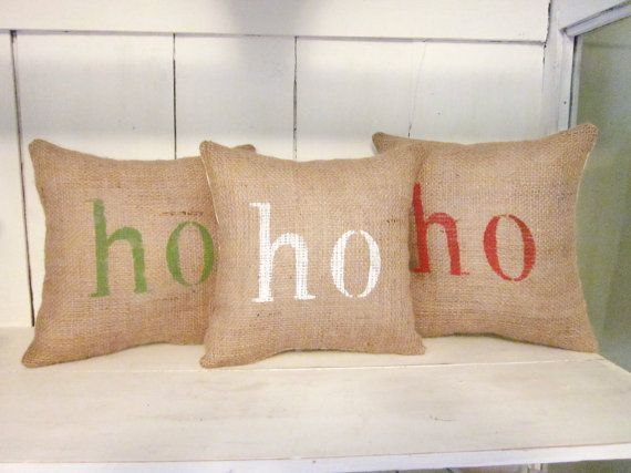 Holiday  pillows, ho ho ho, christmas pillows, burlap pillows, decorative pillows, hand painted pillows, santa decor, shabby chic, farmhouse