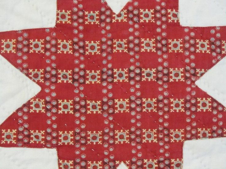 """1850s Pennsylvania Star Quilt, eBay seller gb-best; 77"""" x 70""""; hand quilted at 8 spi; edged turned & hand sewn, thin batting, stars are machine appliqued, never washed"""