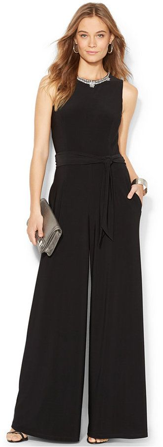 $122, Black Jumpsuit: Embellished Wide Leg Jumpsuit by Lauren Ralph Lauren. Sold by Macy's. Click for more info: http://lookastic.com/women/shop_items/147468/redirect