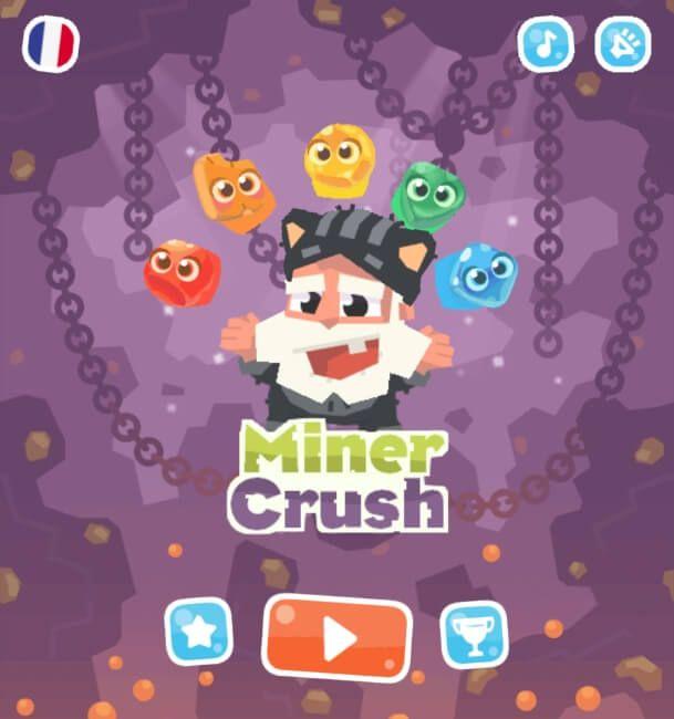 Miner Crush est un superbe petit jeu de match-3, vous devez comme à l'accoutumé assembler des objets par 3. Ici il s'agit de pierres...
