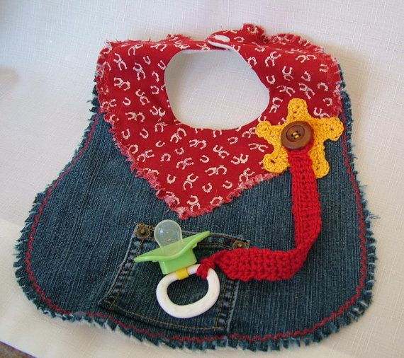Cowboy Denim Bib with Crochet Sheriffs Badge and by Lilibugs