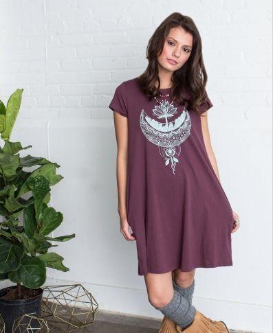 CRYSTAL MOON ORGANIC T-SHIRT DRESS   Organic T-Shirt Dress   Eco Hippie Dresses   Soul Flower   Pocket Dress