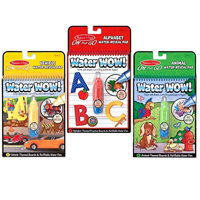 Melissa Doug On The Go Water Wow Reusable Water Reveal Activity Pads 3 Pk Vehicles Animals Alphabet Coloring Books Melissa And Doug Animal Alphabet