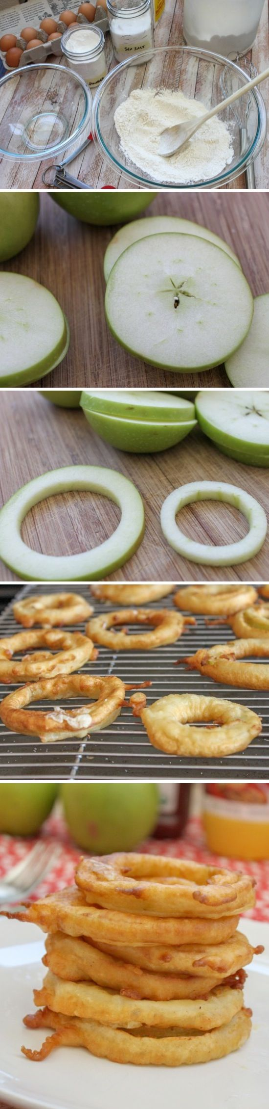 Fried Apple Rings ~ You could even drizzle them with a bit of caramel or chocolate. Yum!