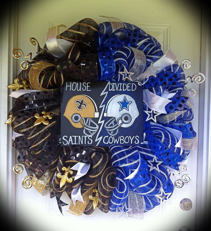 New Orleans Saints/ Dallas Cowboys House Divided Wreath. By far the biggest wreath I've made thus far! It's big and beautiful :)