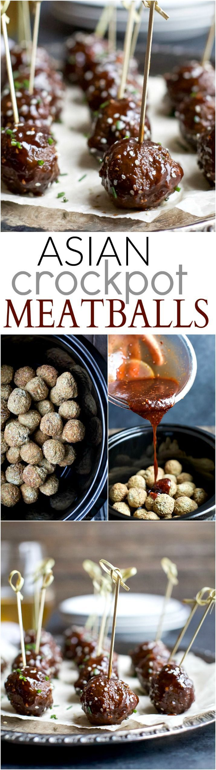 Asian Crockpot Meatballs covered in a sweet and spicy sauce you'll swoon over! This holiday appetizer recipe will be devoured in seconds!   joyfulhealthyeats.com