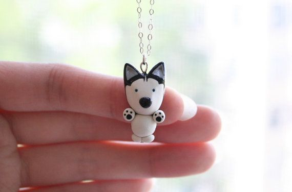 Mika the Siberian Husky Necklace Sterling silver by MochasFriends, $38.00