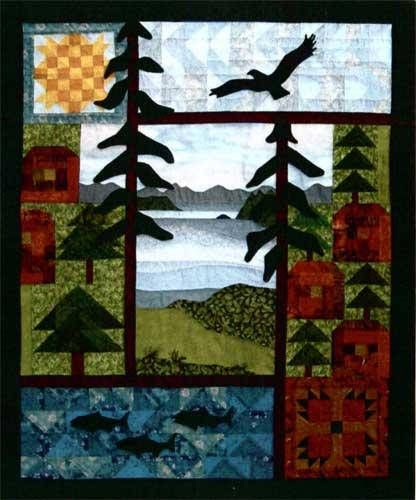 Designs to Share with You quilt pattern - Totally West Coast - designed by Ursula Riegel  Lots of different fabrics and techniques make this a fun project  Sun, water and mountains, log cabins and cedars, fish and an eagle – they all provoke memories of a summer on the West Coast. This