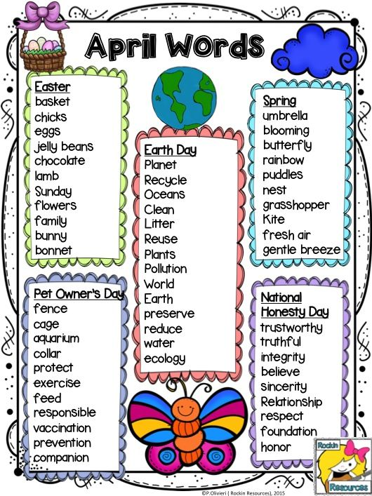 April Word List  FREE! A word list with April related themes which is great for projects and activities. I use them mainly for writing stories and poems.