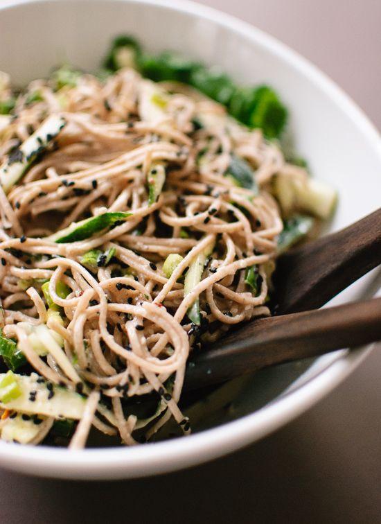 Sesame-ginger and cucumber soba noodles recipe