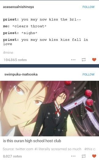 The second post is even funnier when you realize that the Mamoru Miyano, the Japanese actor that voices Tamaki Suoh from OHSHC, also voiced Rin Matsuoka from Free!.