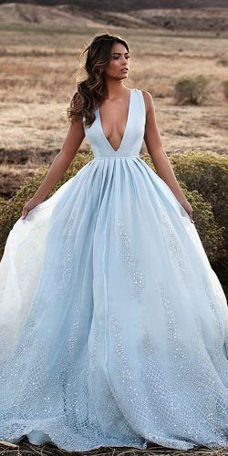 bfd8807b72af colorful wedding dresses ball gown deep v neckline beaded embroidered blue  lurelly bridal