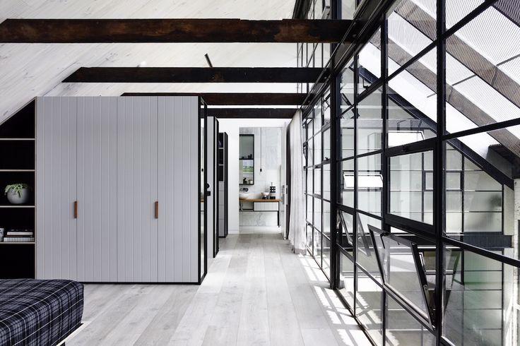 Master #bedroom of a modern #industrial loft