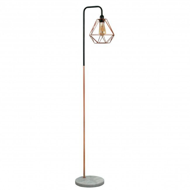 Industrial Style 'Talisman' Copper Floor Lamp with White Marble Base and Copper Geometric Shade