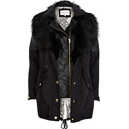 Black 3 in 1 faux fur parka jacket £100.00