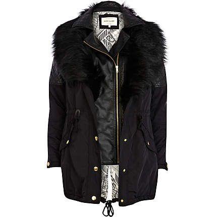 Black 3 in 1 faux fur parka jacket £100.00