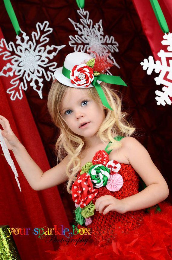 White Christmas mini top hat peppermint headband