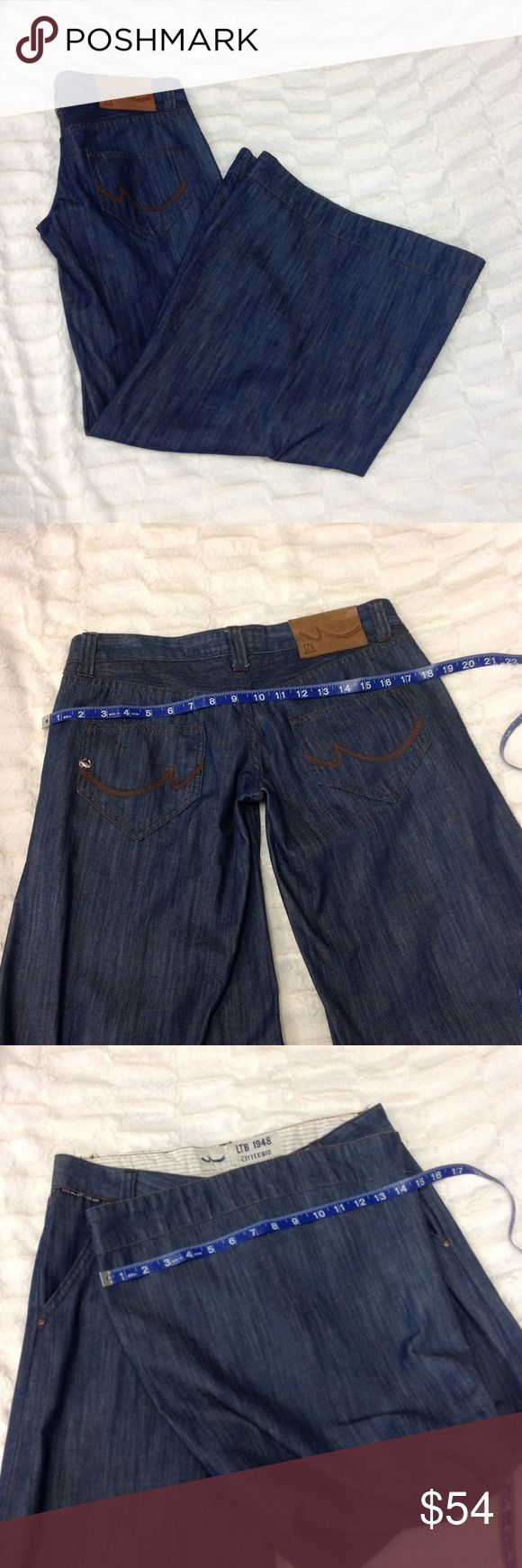 "LITTLEBIG (LTB) Super Flare Jeans 😍😍😍😍🚨❗️STOP!!! THESE ARE TOO MUCH TO HANDLE! These designer jeans are blue denim and SUPER FLARE!!! The inseam is 32"" and low rise style. The flare is 15.5"" wide when laying flat! The pockets have dark brown stitching and a tiny silver crab accent! ☺️ ***MINT CONDITION! Super unique! Littlebig Jeans Flare & Wide Leg"