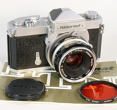 Nikkormat FTn,1967 with the famous 60/40 center weighted meter. Big improvement over the Nikkorex. The FT came out in 1966 and had averagering meter. Big rugged cameras, eventually replaced by the smaller FM series. By then the race was on for smaller cameras. Also made the FS a non metered model, very rare.