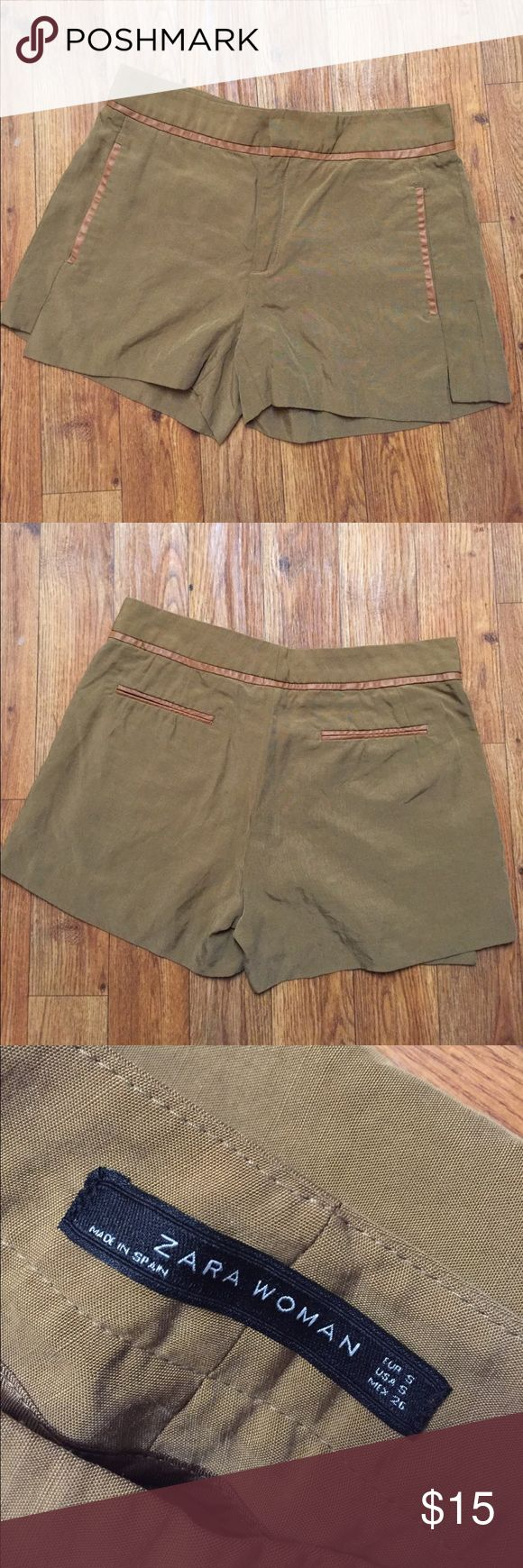 Zara Woman Camel Shorts with Faux Leather trim s Size small and in great condition. Pair with a black sweater and black tights for the perfect Fall look. Zara Shorts