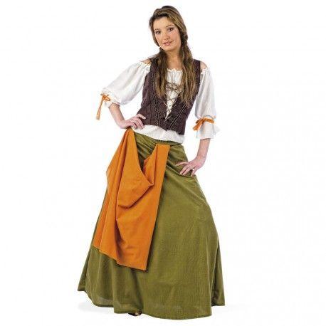 Disfraz de Tabernera medieval real y con tejidos muy apropiados, para que te conviertas en una autentica mujer medieval. Ideal para todo tipo de fiestas y mercados Medievales.