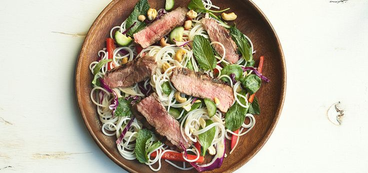 In this salad, a little beef goes a long way. What people crave is the taste and texture of beef, not to be overwhelmed by it, and this dish satisfies that need by turning beef into a supporting playe