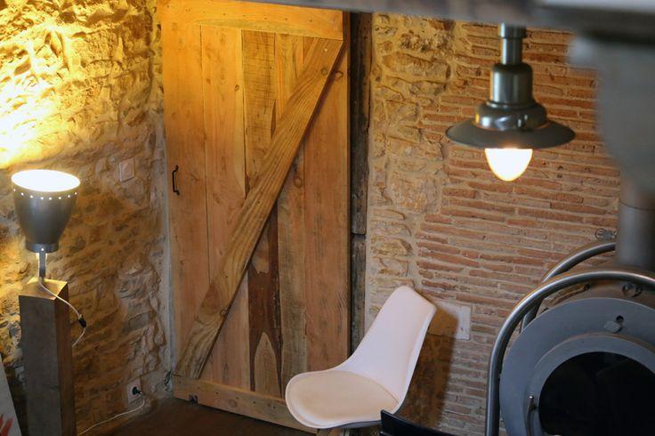 Création porte coulissante en bois