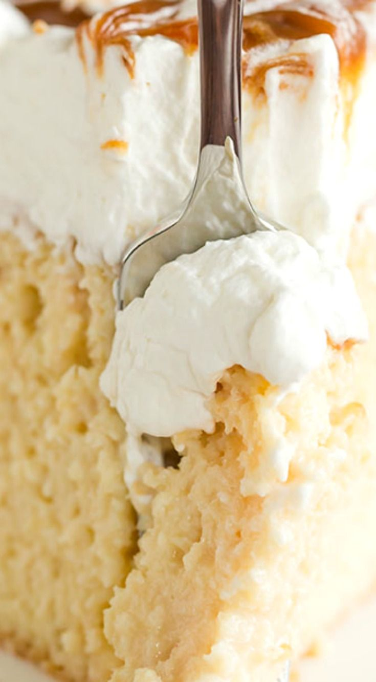 Caramel Tres Leches Cake ~ The BEST Caramel Tres Leches Cake! Dulce de leche is whisked into the three-milk mixture and then swirled into the whipped cream on top.