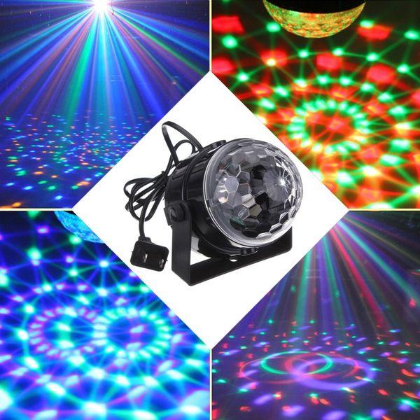 5W RGB Crystal Magic Ball Effect <b>Stage Light</b> Voice Control Party ...