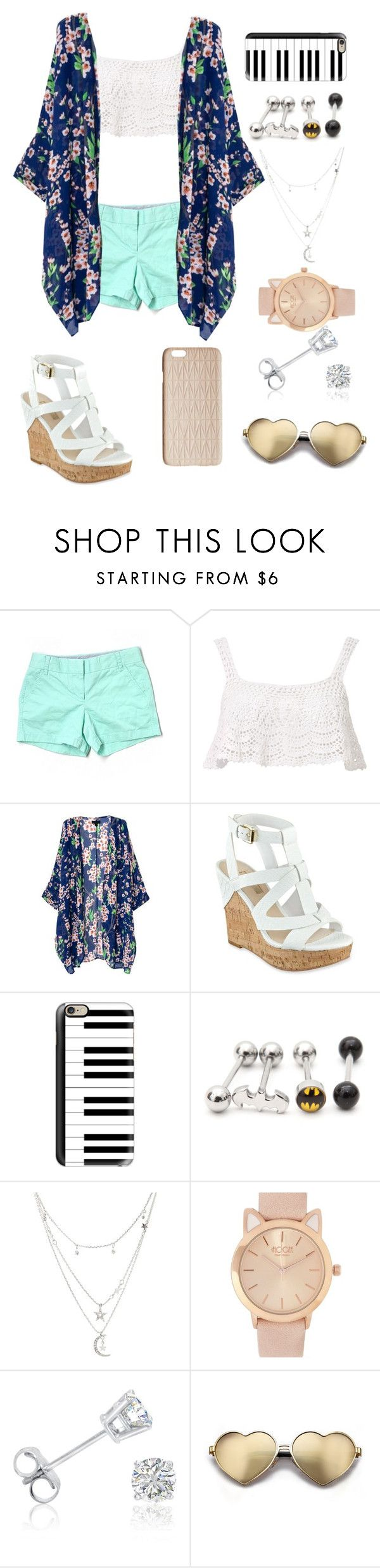 """Girly summer"" by to-crazy-for-you-now-backup ❤ liked on Polyvore featuring J.Crew, Beauty & The Beach, GUESS, Casetify, Charlotte Russe, Amanda Rose Collection, Wildfox and Dagmar"