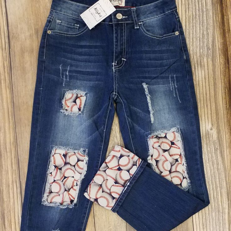 Distressed Baseball Boyfriend Jeans