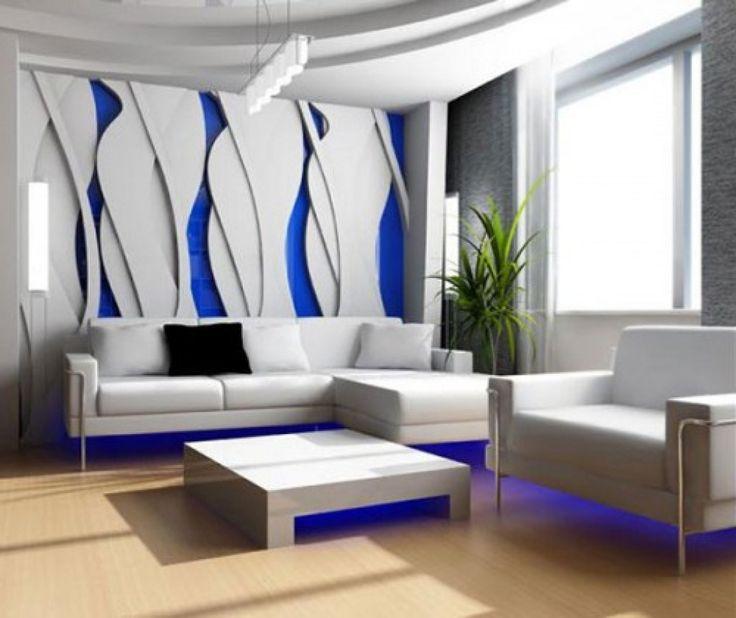 wandgestaltung wohnzimmer mit tapete beispiele | moderne, Hause deko