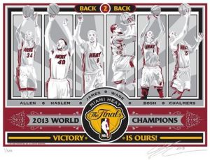 """2013NBA ChampionsSportsPropagandaScreen Print -Miami Heat. Capture the memory of seeing LeBron James and the Miami Heat capture their second straight title with a handmade 2013NBA ChampionsSportsPropagandaScreen Print.  Limited edition of 500. Each print is signed by artist Chris Speakman and individually numbered on 100% cotton, archival Stonehenge brand paper - size is 17""""x21"""". Brought to you by Sports Propaganda this collectible is great for autographs and adds a touch of class…"""